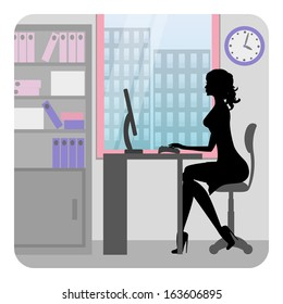 Silhouette business woman working in office. Vector