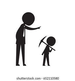 silhouette businessman ask kid to work