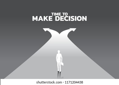 silhouette of businessman with briefcase step forward to crossroad. Concept of time to make decision in business direction