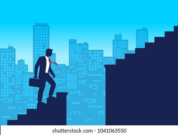 Silhouette businessman climbing up staircases and stop in front of chasm, Gap on stairway, Business concept of challenge problem solving and overcoming obstacles, Flat design vector illustration