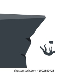 Silhouette of a businessman falling into the abyss. Falling businessman. Career growth. Rapid fall as a symbol of crisis and bankruptcy. Vector illustration flat design. Isolated on white background.