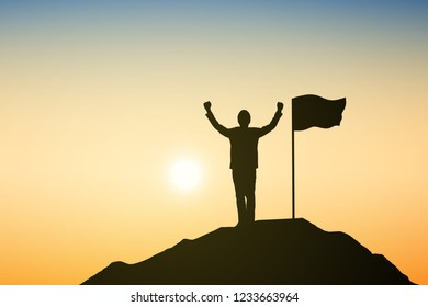 Silhouette of businessman with flag are celebrating success on top of a mountain at sunrise. Business, leadership, achievement and goal concept. Vector illustration.
