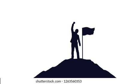 Silhouette of businessman and a flag on top mountain, white background. Business, success, leadership, achievement and goal concept.Vector illustration.