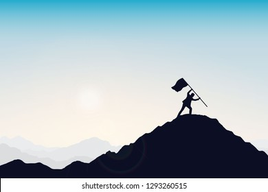 Silhouette of businessman and flag on top mountain, sky and sun light background. Business, success, leadership, achievement and people concept. Vector illustration.