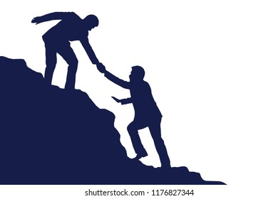 Silhouette of businessman helping each other hike up  a mountain on white background. Business, success, leadership, achievement and goal concept. Vector illustration.
