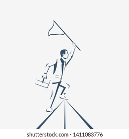 Silhouette businessman hold flag on top of mountain. Goal achievement. Mountain peak as a symbol successfull mission. Business concept. Enjoys victory. Progress. Achievements in work.