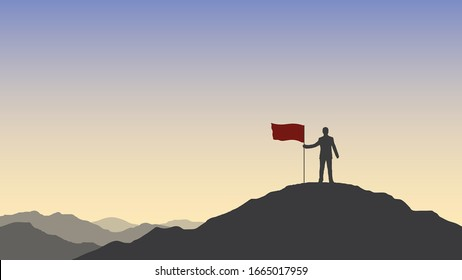 Silhouette of businessman holding a red flag on top mountain. Business, success, leadership, achievement and goal concept.