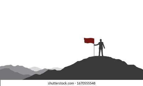 Silueta de hombre de negocios con una bandera roja en la cima de la montaña. Negocio, éxito, liderazgo, logro y concepto de objetivos.