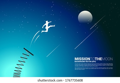 Silhouette of businessman jump to the moon with springboard. Concept of boost and growth in business.