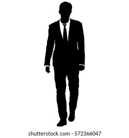 Silhouette businessman man in suit with tie on a white background. Vector illustration.