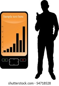 silhouette of a businessman and a mobile phone