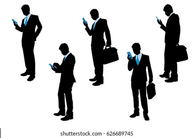 silhouette of businessman on the white background