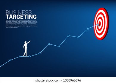 silhouette of businessman point to dartboard on line graph to center of dartboard. Business Concept of targeting and customer.route to success.