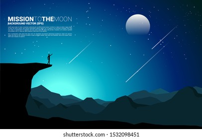 silhouette of businessman point forward from mountain cliff to the moon at night. Concept of business vision mission and goal