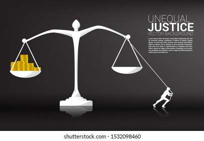 silhouette of businessman pull the balance from money coin. Background concept for fight with unequal justice
