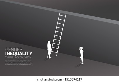 Silhouette businessman standing with with ladder to climb to wall and businesswoman. Concept of gender inequality in business and obstacle in woman career path