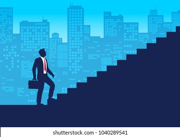 Silhouette businessman start walking up stairway first step, Climbing staircases for development,  Business journey concept growth and the path to future success, Flat design vector illustration