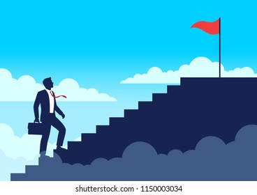 Silhouette businessman walking up stairway, Climb up staircases to the top of success, Business journey concept growth and the path to successful, Flat design vector illustration