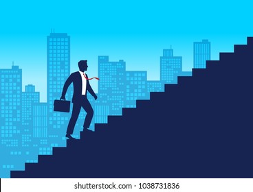 Silhouette businessman walking up stairway, Employee climb up the staircases, Business journey concept growth and the path to success, Flat design vector illustration