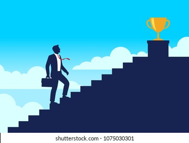 Silhouette businessman walking up stairway to trophy cup, Climb up the staircases and win price of success, Business journey concept growth and the path to successful, Flat design vector illustration