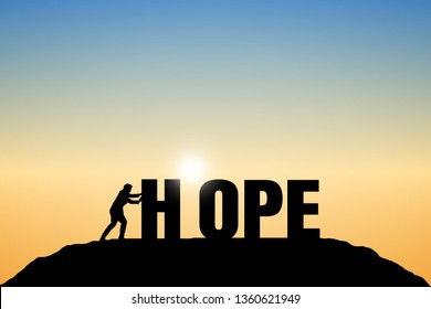"Silhouette of businessmen are creating the word ""HOPE"" at the top of the mountain. Sunset background. Business hope concept.  Eps10 Vector illustration."
