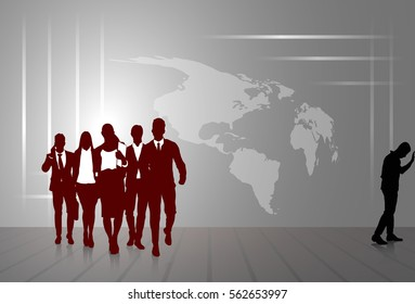 Silhouette Businesspeople Group Business Man And Woman Sketch Abstract World Map Background Vector Illustration