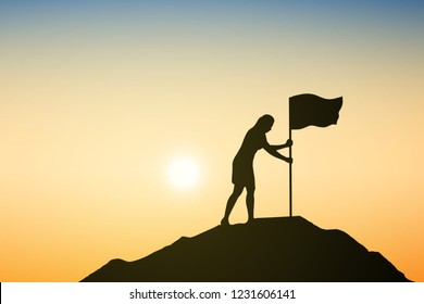 Silhouette of businesswoman with flag are celebrating success on top of a mountain at sunrise. Business, leadership, achievement and goal concept. Vector illustration.