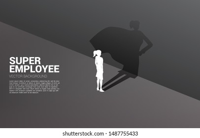 Silhouette of businesswoman and his shadow of superhero.concept of empower potential and human resource management