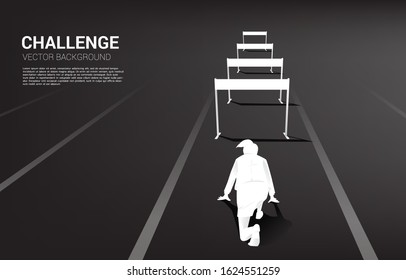 Silhouette businesswoman ready to run across hurdles obstacle. Background concept for Obstacle and challenge in business