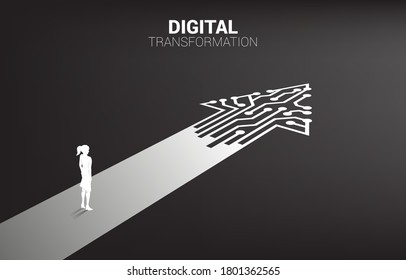 Silhouette of businesswoman standing on the way with dot connect line circuit. concept of digital transformation of business.