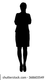 Silhouette of a businesswoman or teacher on white in full length