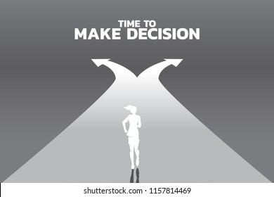 Silhouette of businesswomen running to crossroad. Concept of time to make decision in business direction