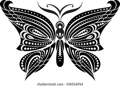 Silhouette butterfly with delicate wings. Black and white drawing. stylized symbol.