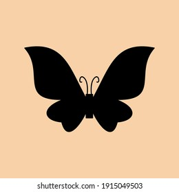 Silhouette butterfly illustration. Animal silhouette. Can be used for sticker and pattern designs. Cutout clip art of butterfly silhouette design.