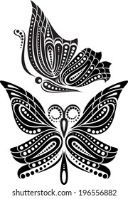 Silhouette butterfly with open wings tracery. Black and white drawing. stylized symbol