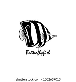 Silhouette of butterflyfish vector illustratin