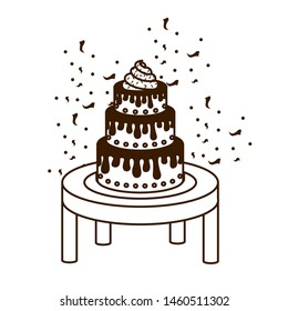 silhouette of cake on wooden table of happy birthday