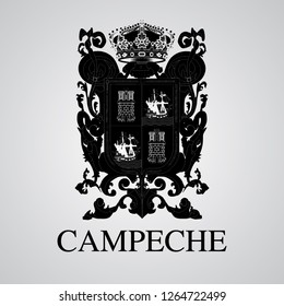 Silhouette of Campeche Coat of Arms. Mexican State. Vector illustration