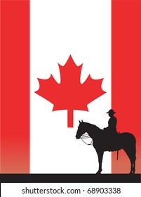 The silhouette of a Canadian Mounted Police officer against a Canadian flag