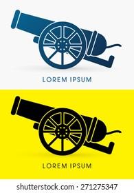 Silhouette, Cannon, sign ,logo , symbol, icon, graphic, vector.