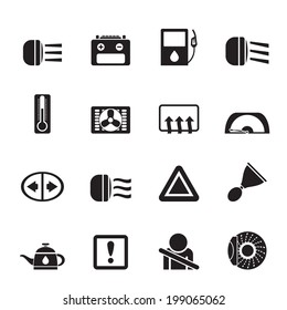 Silhouette Car Dashboard - realistic vector icons set