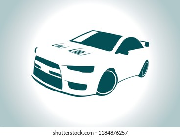 the silhouette of the car. Mitsubishi Lancer.