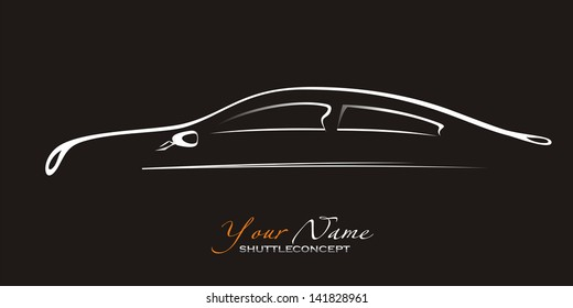Silhouette of the  car on black background. Vector art.