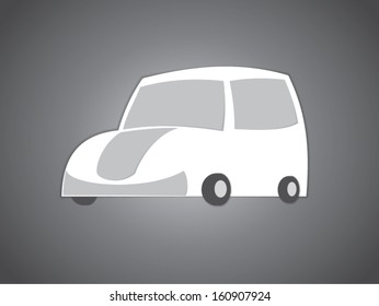Silhouette of the car on the paper. Vector illustration.