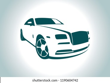 the silhouette of the car. Rolls Royce.
