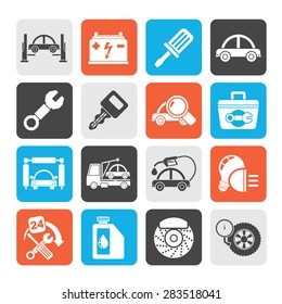 Silhouette Car service maintenance icons - vector icon set