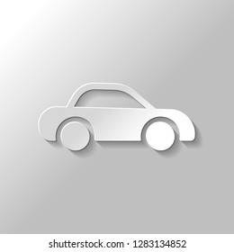 Silhouette of car, small auto icon. Paper style with shadow on gray background