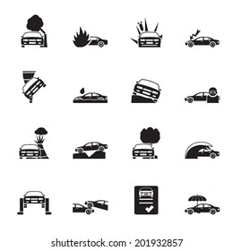 Silhouette car and transportation insurance and risk icons - vector icon set