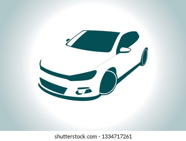 the silhouette of the car. Volkswagen Golf.