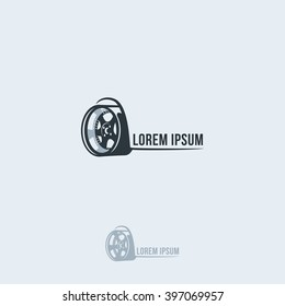 The silhouette of the car wheel. Vector logo template.